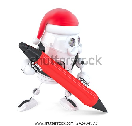 Robot Santa writes something with a pen. Isolated on white. Contains clipping path - stock photo