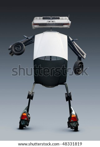 Robot sculpture made from car parts. Isolated with clipping path - stock photo