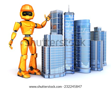 Robot shows new skyscrapers - stock photo