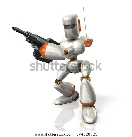Robot Soldier sets up a rifle. isolated, computer generated image - stock photo