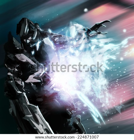 Robot soul. Futuristic robot warrior with electric soul falling art illustration. - stock photo