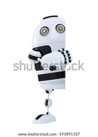 Robot standing behind blank banner. Isolated. Contains clipping path - stock photo