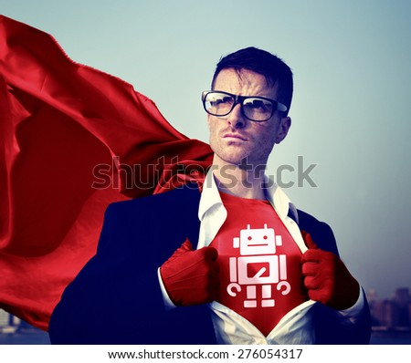 Robot Strong Superhero Success Professional Empowerment Stock Concept - stock photo