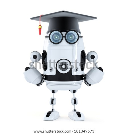 Robot student with mortarboard. Isolated on white background - stock photo