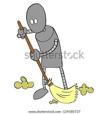Robot Sweeping - stock photo