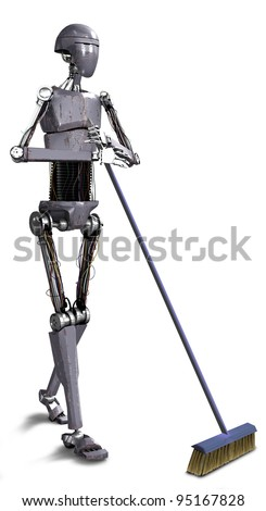 robot sweeping - stock photo