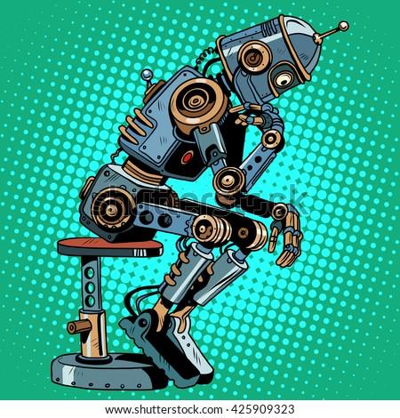 Robot thinker artificial intelligence progress - stock photo