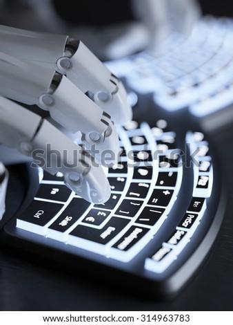 Robot typing on conceptual futuristic self-illuminated keyboard - stock photo
