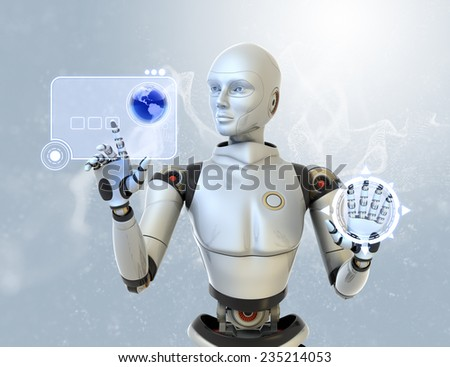 Robot using a futuristic interface. - stock photo