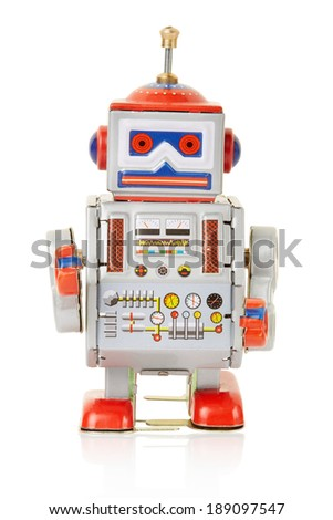 Robot vintage toy isolated on white, clipping path included - stock photo