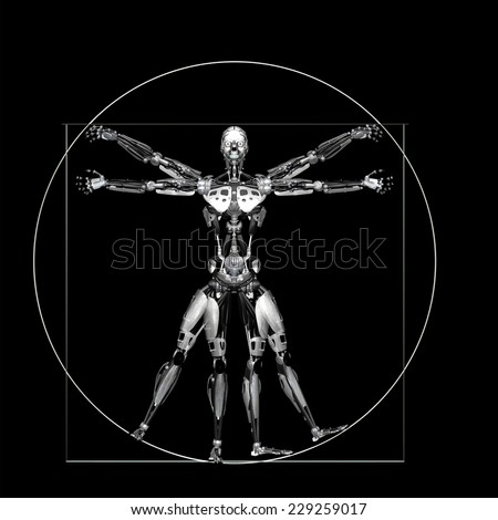 Robot - Vitruvian - Silver: A futuristic male humanoid robot in a Leonardo da Vinci Vitruvian style pose.  Isolated on a black background - stock photo