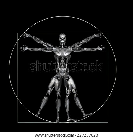 Robot - Vitruvian - Worn: A futuristic male humanoid robot in a Leonardo da Vinci Vitruvian style pose.  Isolated on a black background - stock photo