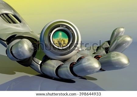 Robot webcam in a robot arm..3D rendering - stock photo
