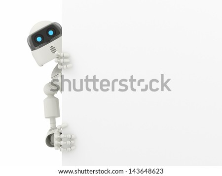 Robot with a blank sign - High quality render - stock photo