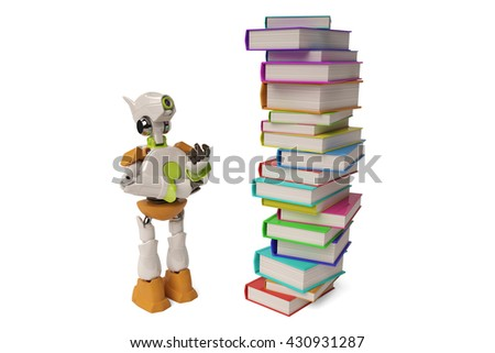Robot with a pile of books,3D illustration. - stock photo