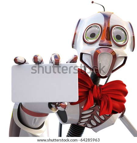 robot with a red bow around his neck handing a blank business card over white background - stock photo