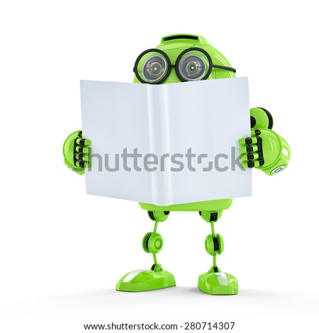 Robot with book. Technology concept - stock photo