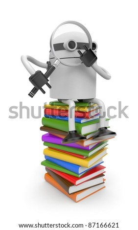 Robot with books - stock photo
