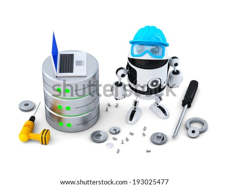 Robot with database. Technology concept. Isolated. Contains clipping path - stock photo