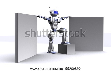 Robot with empty billboards - stock photo