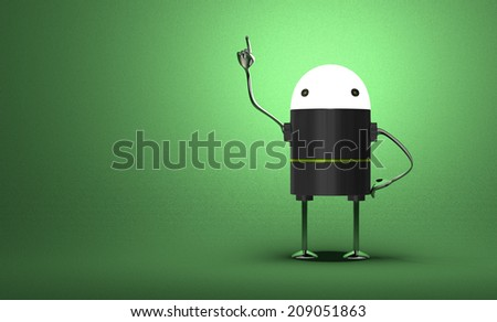 Robot with glowing head, black plastic body, metallic arms and legs in moment of insight on green textured background - stock photo