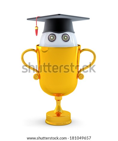 Robot with gold trophy. Isolated on white background - stock photo