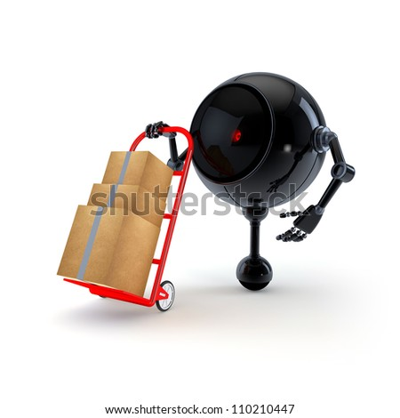 Robot with Hand Trolley - stock photo