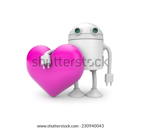 Robot with heart - stock photo