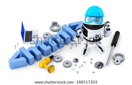 Robot with HTML sign. Technology concept. Isolated on white background.  - stock photo