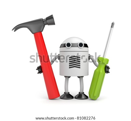 Robot with instruments - stock photo