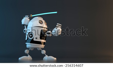 Robot with Katana sword. Technology concept. Contains clipping path - stock photo