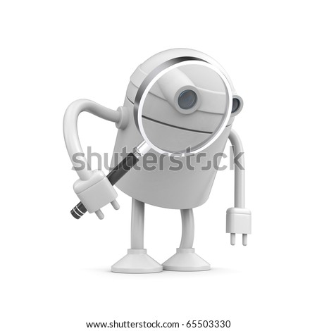 Robot with magnify glass - stock photo