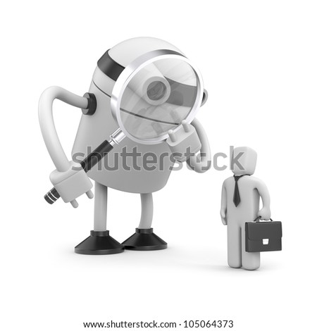 Robot with magnifying glass analyzing businessman - stock photo