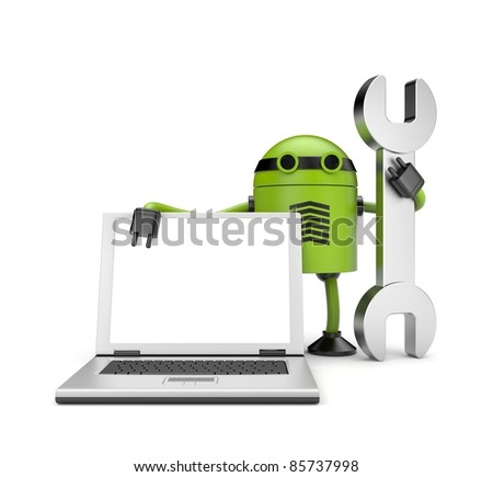 Robot with notebook. Repair you computer - stock photo
