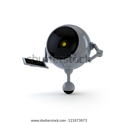 Robot with Pad - stock photo