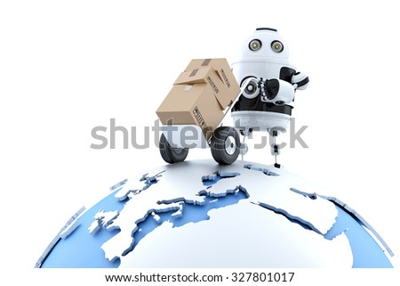 Robot with parcel. Global delivery service. Isolated over white. Contains clipping path - stock photo