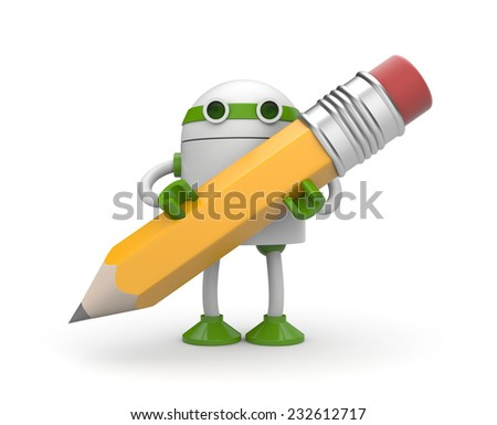 Robot with pencil - stock photo