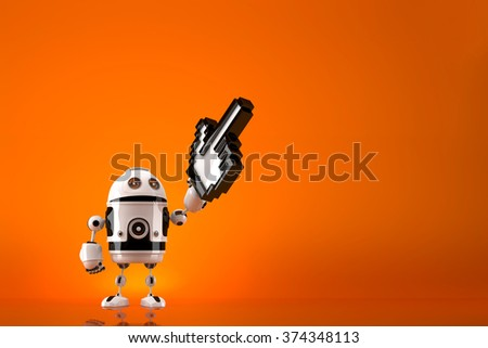 Robot with pixelated pointer. Technology concept. Contains clipping path - stock photo