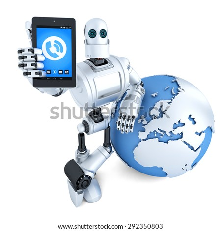 Robot with tablet phone and earth globe. Global communication concept. Isolated over white. Contains clipping path - stock photo