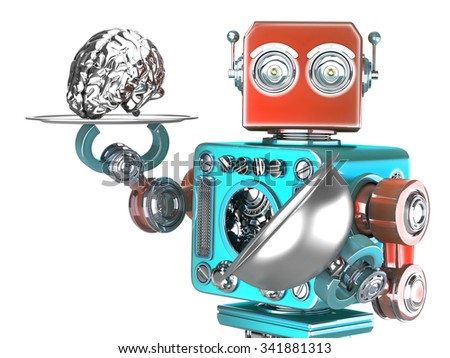 Robot with tray and human brain. Artificial Intelligence concept. Isolated over white. Contains clipping path - stock photo