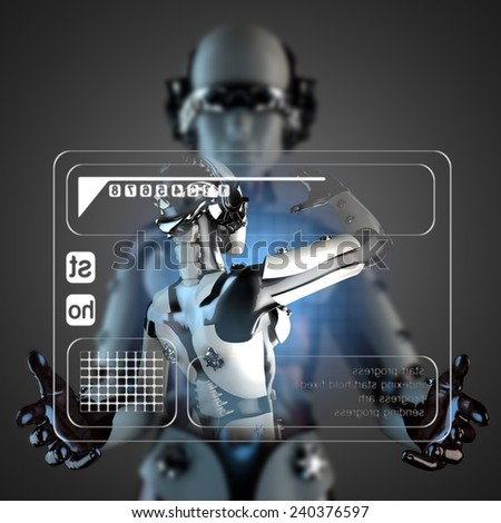 robot woman manipulatihg hologram display - stock photo