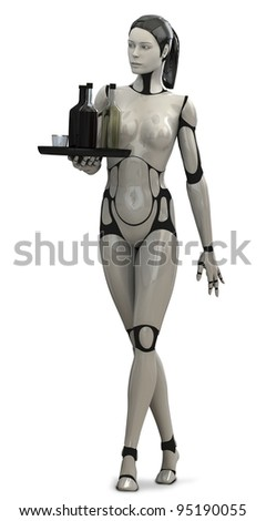 Robot Woman Server - stock photo
