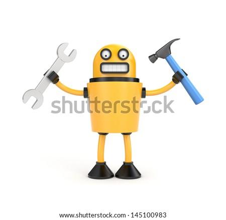 Robot worker - stock photo