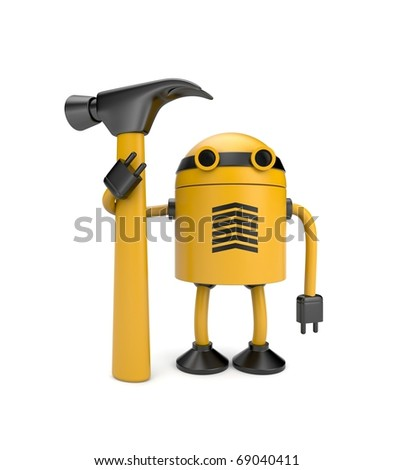 Robot worker. Image contain clipping path - stock photo