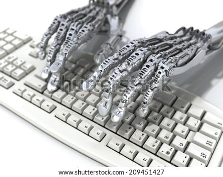 Robot works on keyboard. Futuristic 3d illustration - stock photo