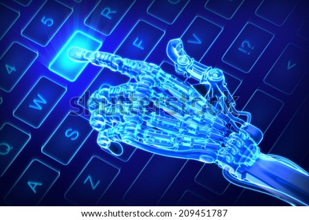 Robot works on keyboard. Futuristic 3d illustration - stock photo