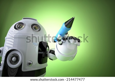 Robot writing, drawing on the screen. Contains clipping path - stock photo