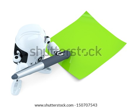 Robot writing notes. Technology concept. Isolated - stock photo