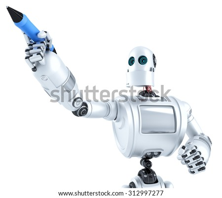Robot writing on invisible screen. Closeup portrait. Isolated on white. Contains clipping path - stock photo