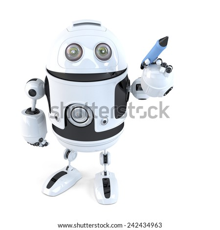 Robot writing with a pen. Isolated on white. Contains clipping path - stock photo